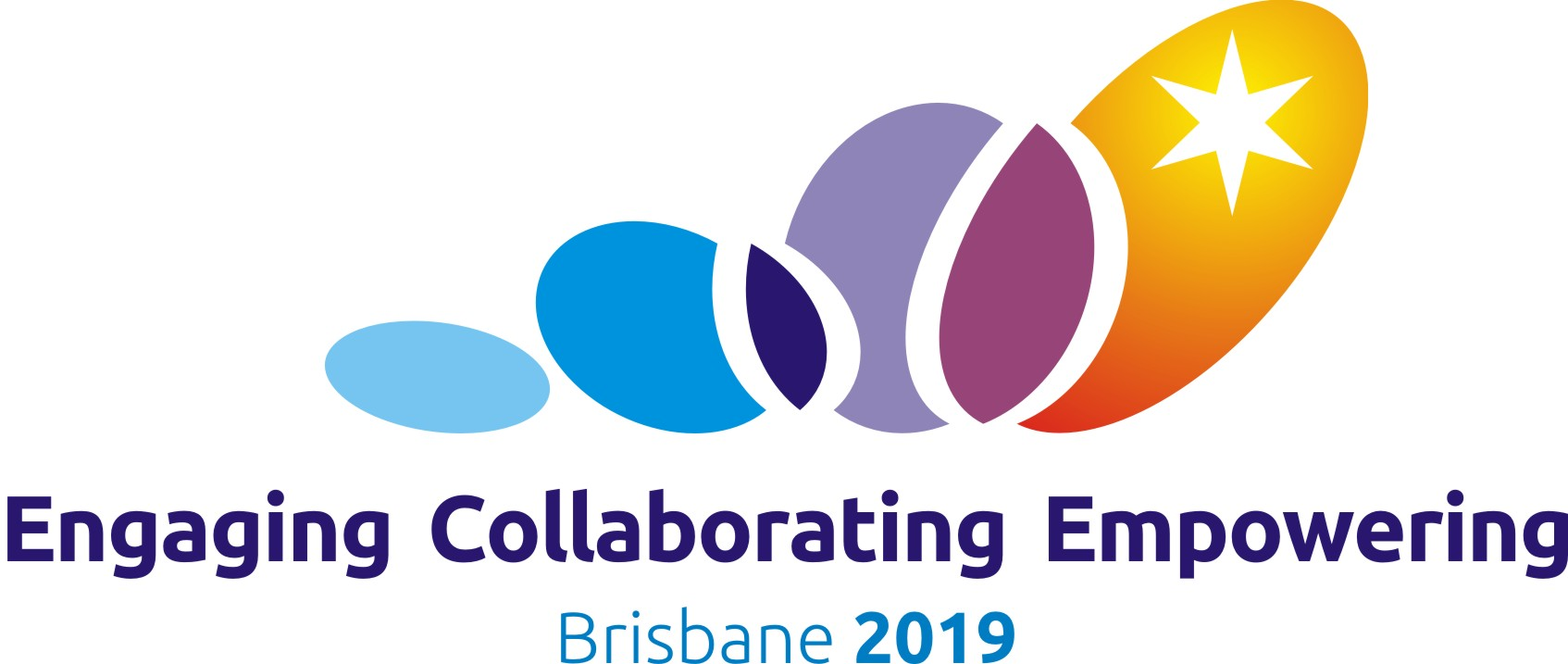 This is the official logo of the 209 Conference being jointly hosted by Speech Pathology Australia and the New Zealand Speech-language Therapists' Association. It has a coloured logo and the words Engaging, Collaborating, Empowering, Brisbane 2019.