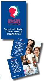 This photograph shows the cover and a selection of pages from the Speech Pathology Week mini-mag.