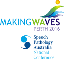 This is logo for the Speech Pathology Australia National Conference in 2016. The graphic includes the words for the Conference theme: Making Waves Perth 2016.
