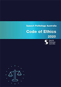 This is graphic is the cover of the new Speech Pathology Australia Code of Ethics 2020. It has the words Speech Pathology Australia Code of Ethics 2020 reversed out of a aqua coloured band, which is set across a dark blue background.