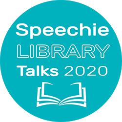 This is the Speechie Library Talks 2020 logo. It has the words Speechie Library Talks 2020 in white reversed out of an aqua colour circle background.