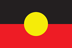 This graphic is of the Australian Aboriginal Flag, which represents Aboriginal Australians. It is one of the official flags of Australia and holds special legal and political status. The symbolic meaning of the flag colours is that black represents the Aboriginal people of Australia, the yellow circle represents the Sun, the giver of life and protector, and red represents the red earth, the red ochre used in ceremonies and Aboriginal peoples' spiritual relation to the land.