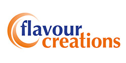 This is the logo of flavour creations. This logo carries two words, flavour creations. Flavour is in blue and creations is in orange. Flavour creations are a bronze conference sponsor of the Tuesday lunch.
