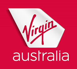 THis is the logo of Virgin Australia airlines. The logo is linked to the web page where a member can book discounted airfares for the Speech Pathology Australia National Conference in 2019.