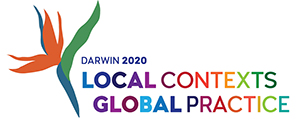 This is the official logo for the Speech Pathology Australia National Conference 2020 to be held in Darwin. The logo reads Darwin 2020, Local Contexts, Global Practice.