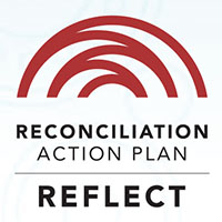This is the logo of Reconciliation Australia and has the words 'Reconciliation Action Plan' and 'Reflect' in white reversed out of blue.
