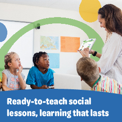 This is an advertisement for Bridges Social. It has a picture of children learning and says 'Ready-to-teach social lessons, learning that lasts and contains a link to their website.