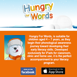 This is an advertisement for Hungry for Words. It is an app suitable for children aged 4 to 7 that helps develop early literacy skills.