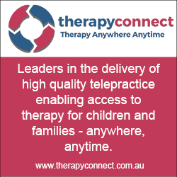 This is an advertisement for a telepractice company called Therapy Connect.