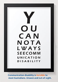 This graphic displays one of the postcards from the Speech Pathology Week kit. It displays an eye chart that reads You cannot always see communication disability.
